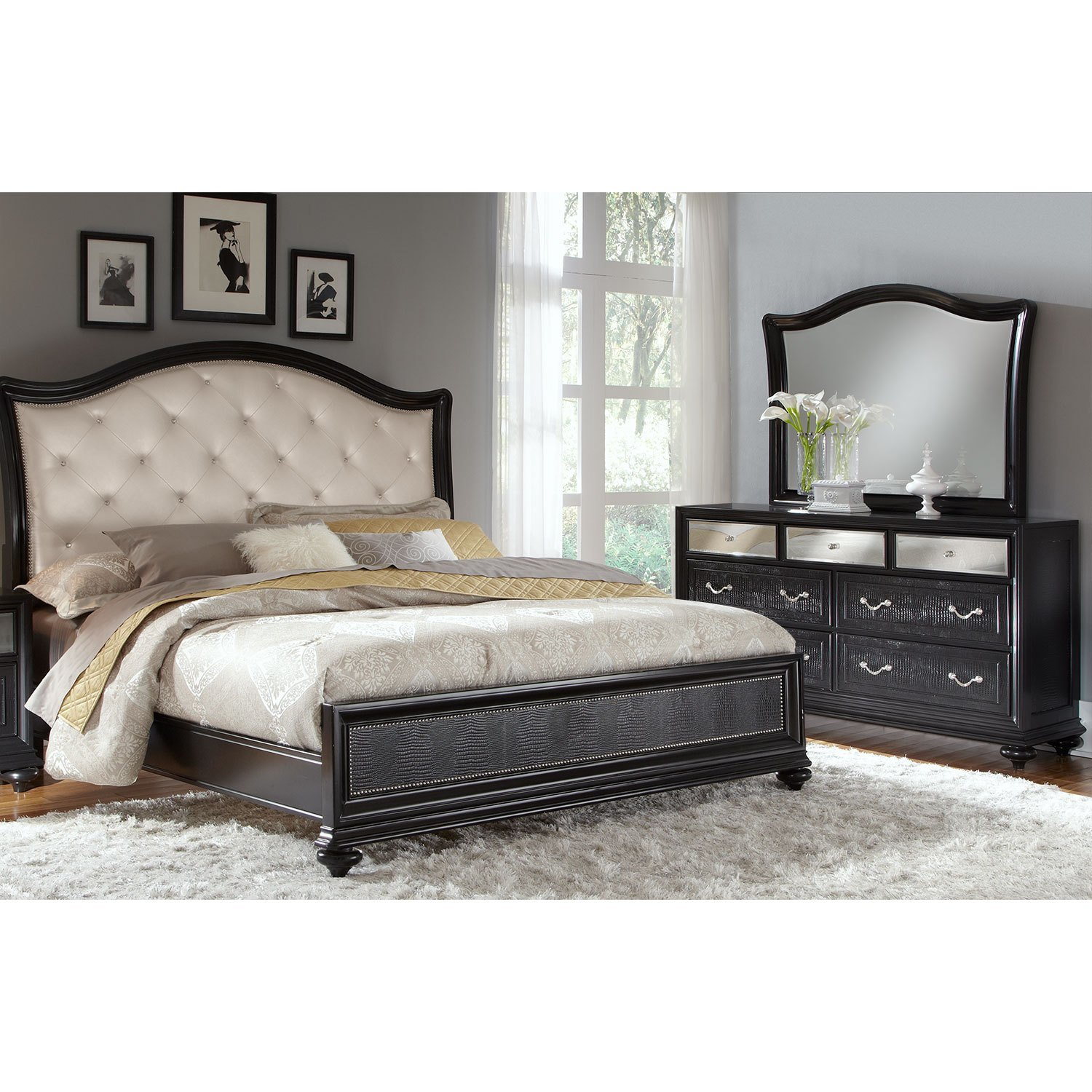 Best Marilyn 5 Piece Queen Bedroom Set Ebony American With Pictures