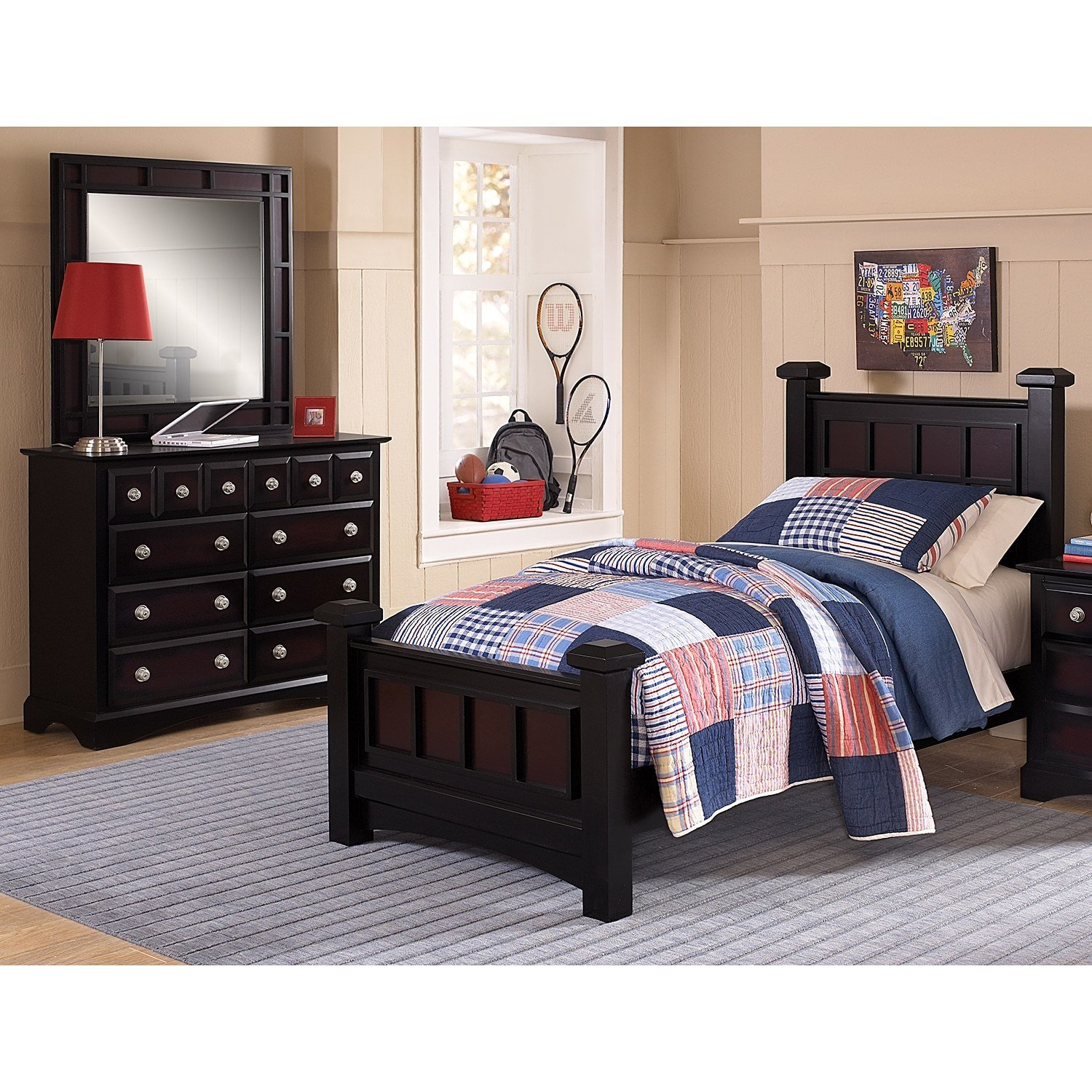 Best Winchester 5 Piece Full Bedroom Set Black And Burnished With Pictures