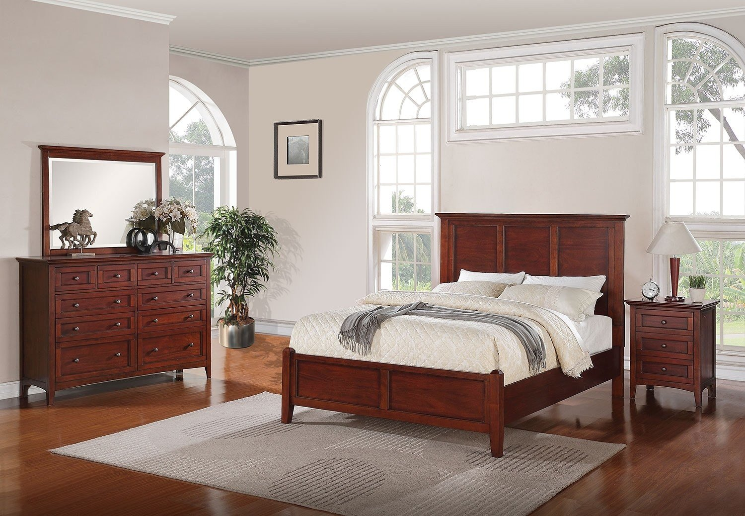 Best Forest Lake 5 Piece Queen Bedroom Set Mahogany Leon S With Pictures