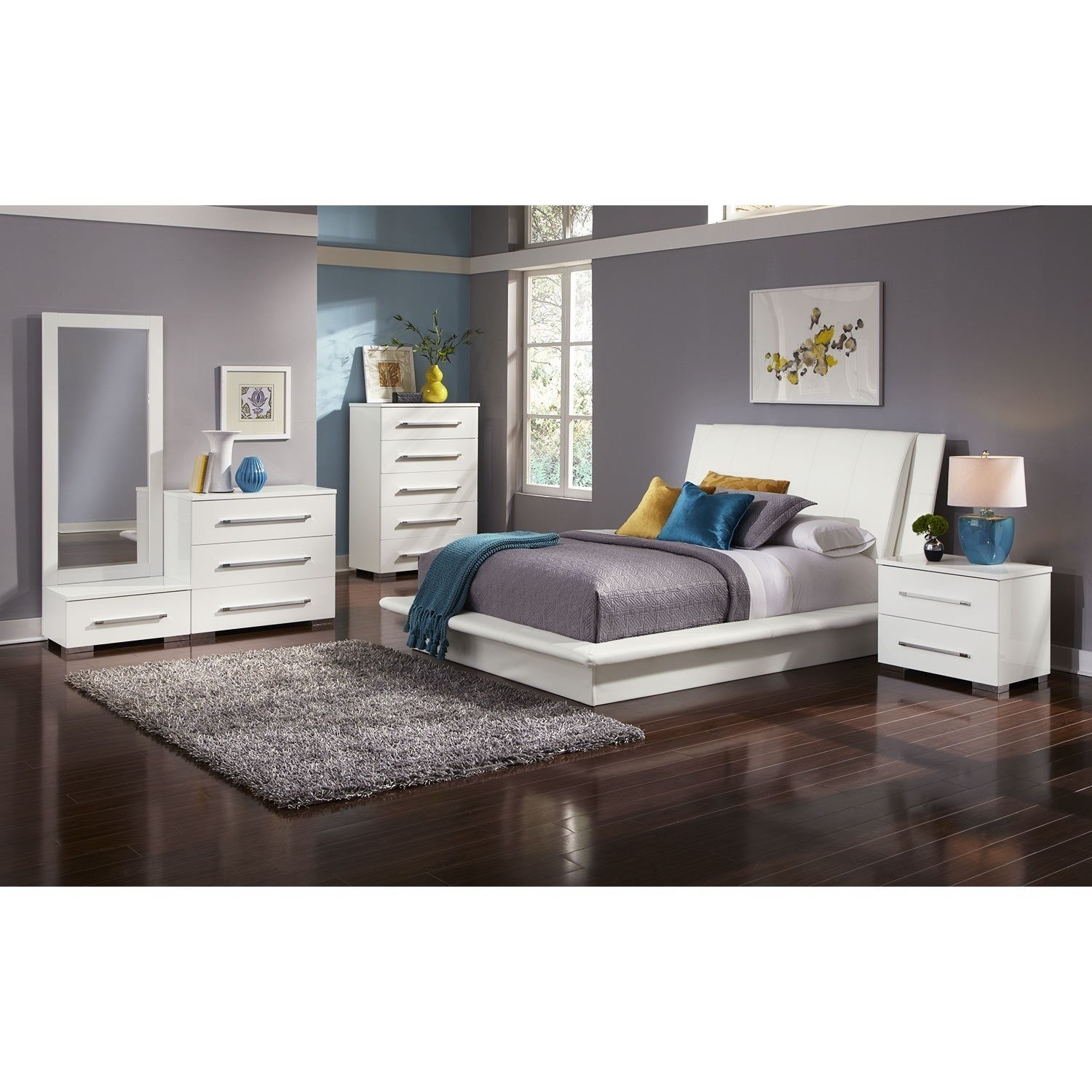 Best Dimora 7 Piece Queen Upholstered Bedroom Set White With Pictures