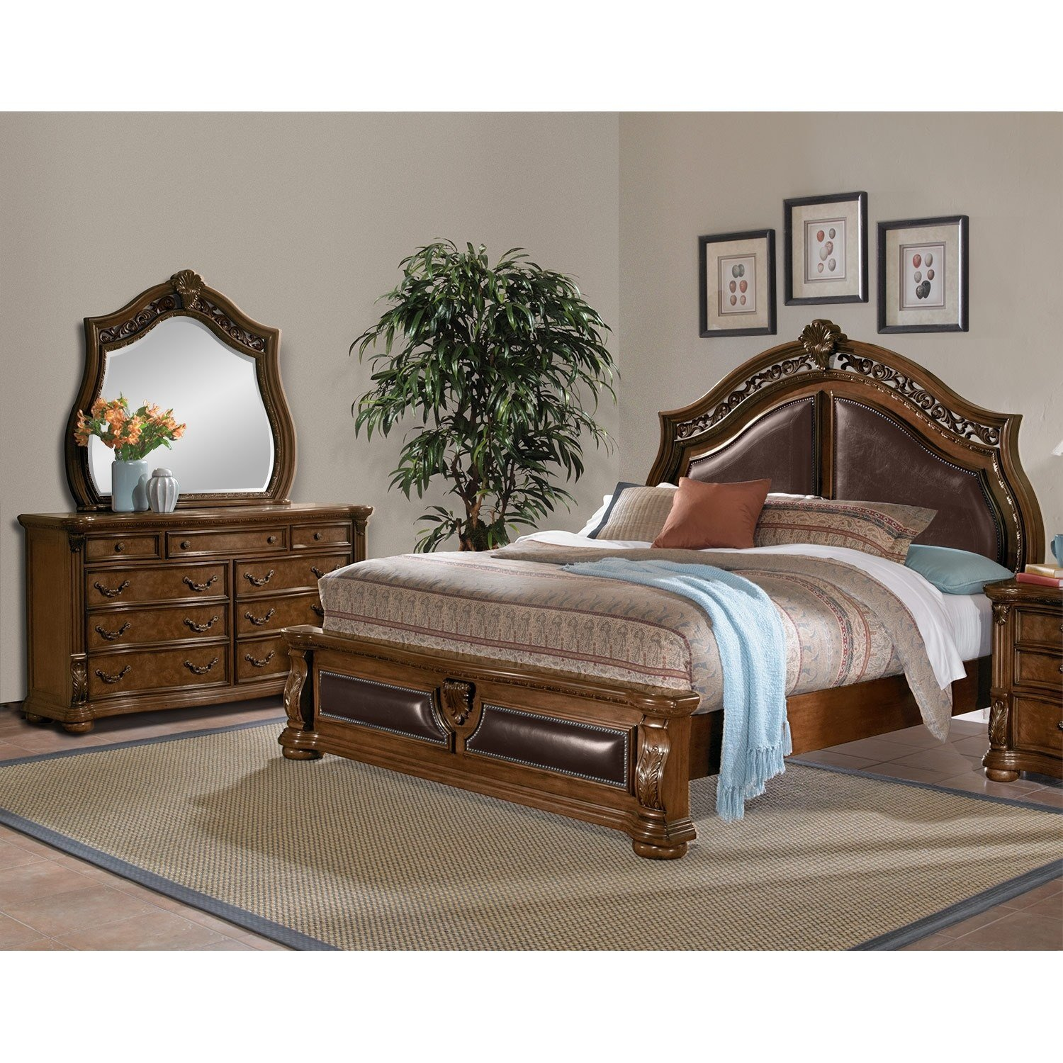 Best Morocco 5 Piece King Bedroom Set Pecan Value City With Pictures