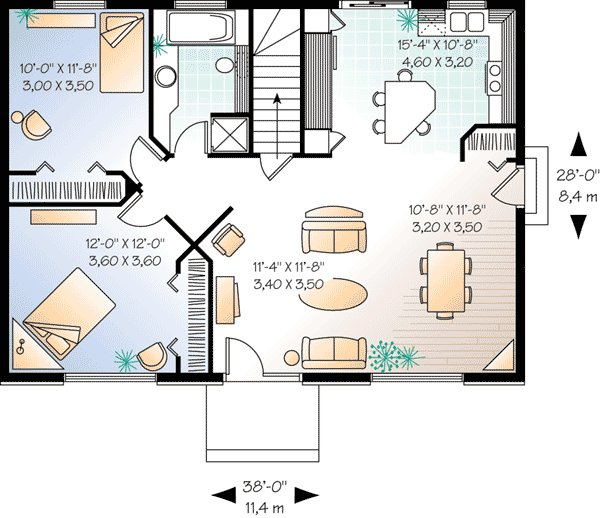 Best Simple 2 Bedroom House Plan 21271Dr Architectural With Pictures
