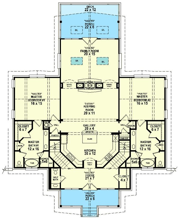 Best Dual Master Suites 58566Sv 1St Floor Master Suite Cad With Pictures