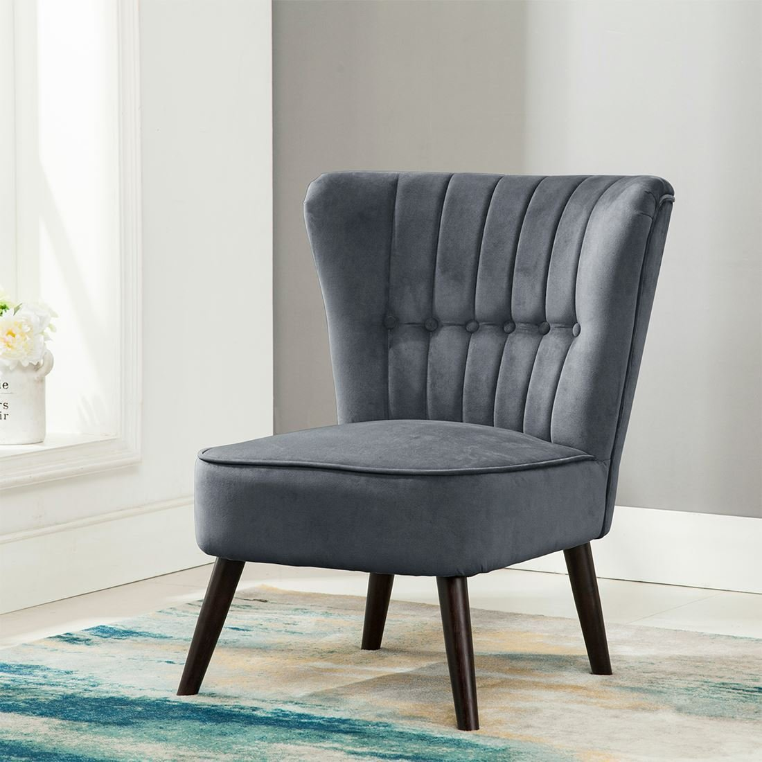 Best Eline Velvet Button Back Retro Occasional Accent Bedroom Chair Grey Fabric Tub Ebay With Pictures