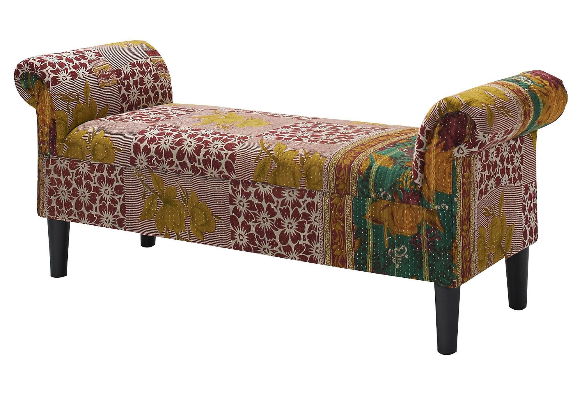 Best Kantha Roll Arm Bench Red Cream Bedroom From One Kings Lane With Pictures