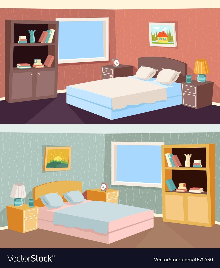 Best Cartoon Bedroom Apartment Livingroom Interior Vector Image With Pictures