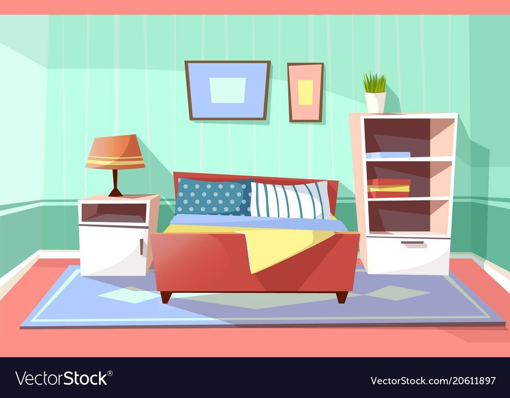 Best Cartoon Bedroom Interior Background Royalty Free Vector With Pictures