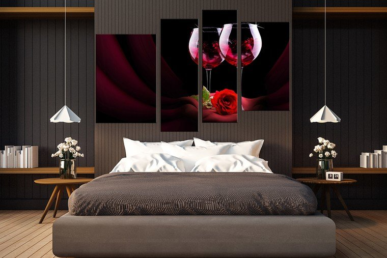 Best 4 Piece Canvas Wall Art Wine Wall Decor Rose Canvas With Pictures