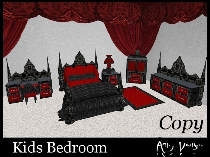 Best Second Life Marketplace Gothic Ruby Kids Bedroom Set With Pictures