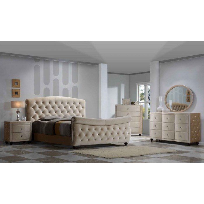 Best Meridian Furniture Usa Diamond Sleigh Customizable Bedroom With Pictures