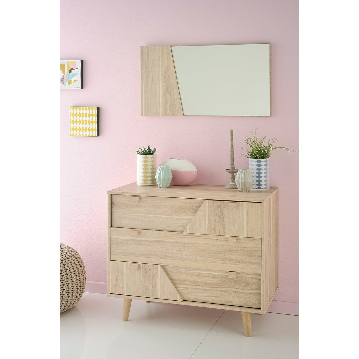 Best Parisot Swen 3 Drawer Chest With Mirror Reviews Wayfair With Pictures