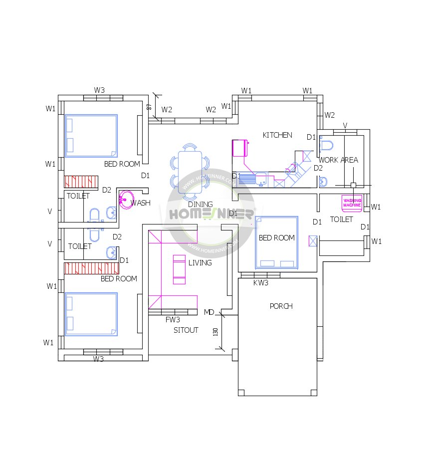 Best Free Three Bedrooms 1200 Square Feet Low Cost Villa With Pictures