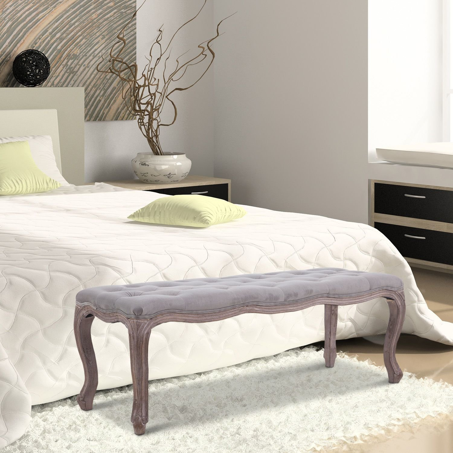 Best Upholstered Bench Tufted End Of Bed Seat Ottoman Wood Bedroom Entryway Furniture Ebay With Pictures