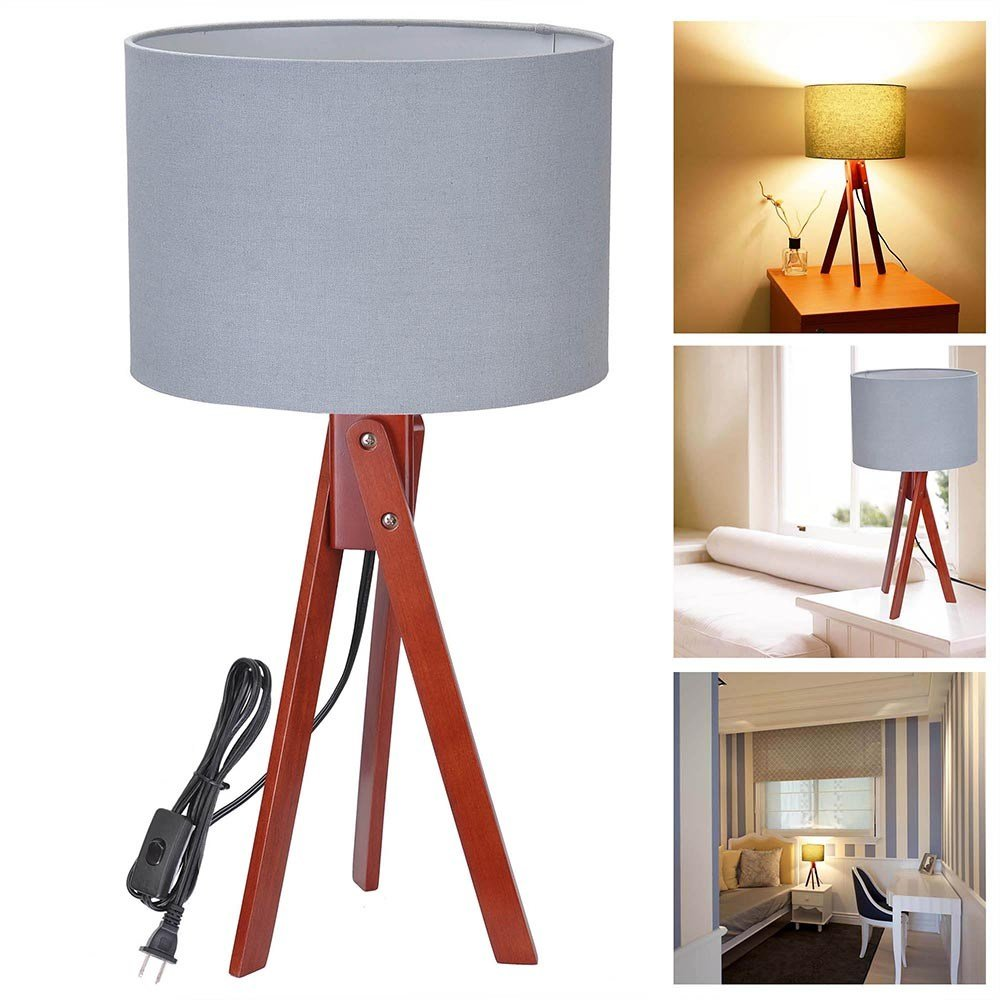 Best Modern Tripod Table Desk Floor Lamp Wood Wooden Stand Home With Pictures