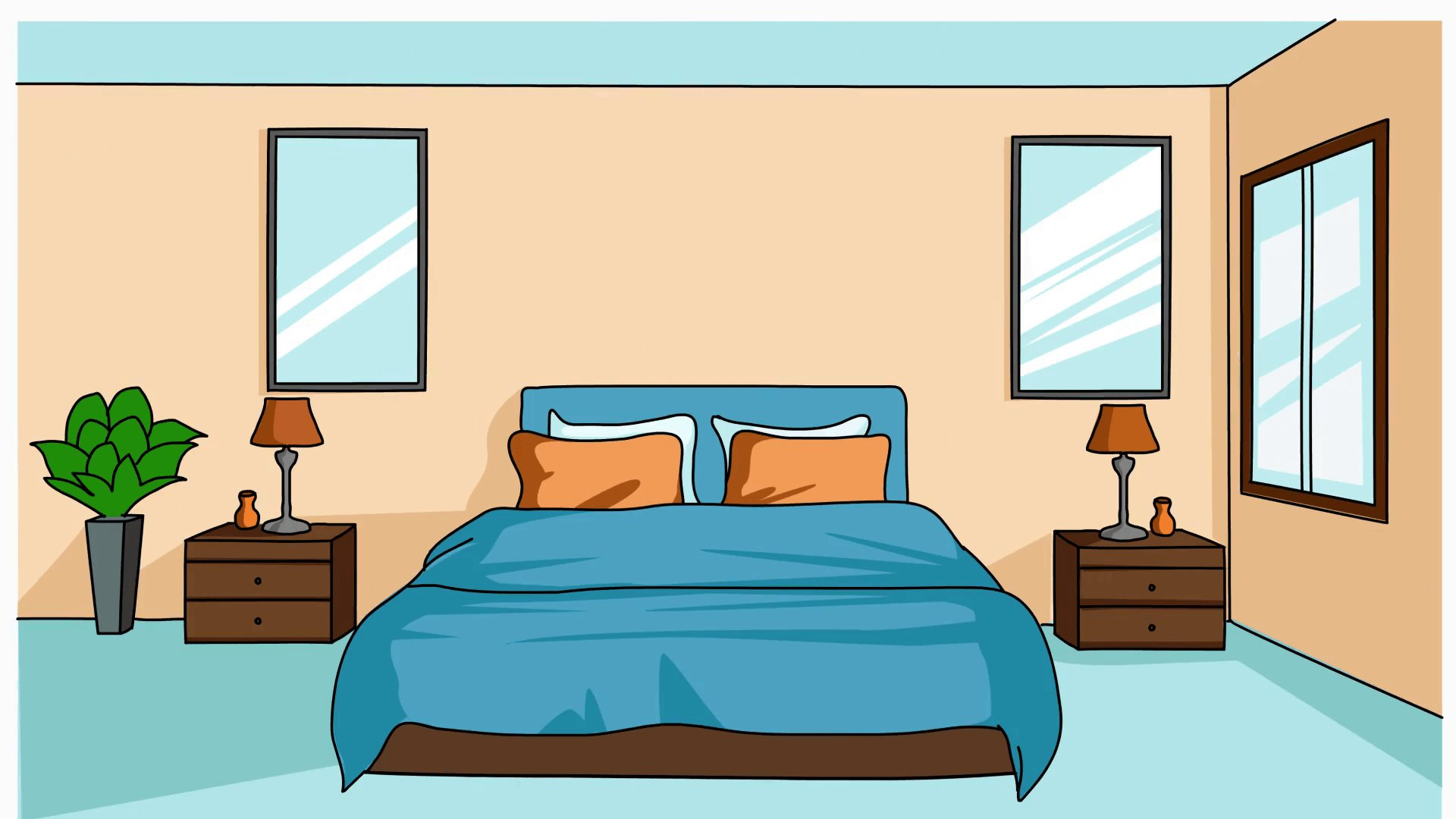 Best Bedroom Sketch Illustration Hand Drawn Animation With Pictures