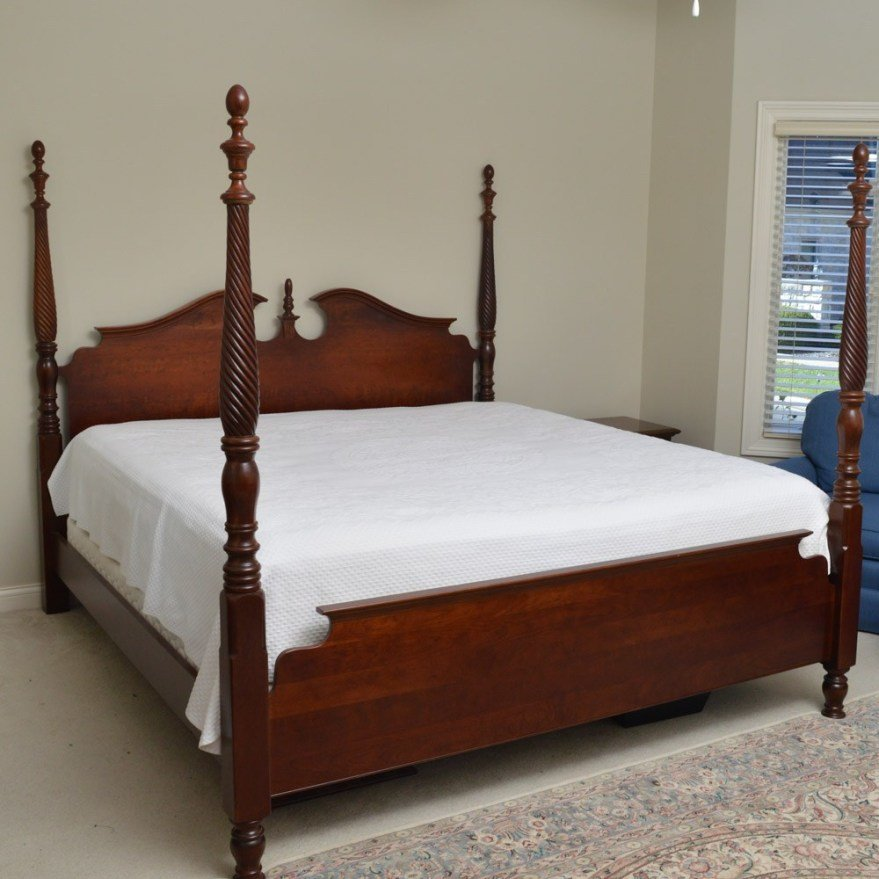 Best Pennsylvania House Cherry Four Poster King Size Bed Ebth With Pictures