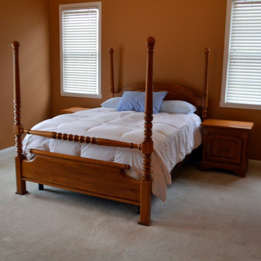 Best Contemporary Keller Furniture Queen Bed Frame And Nightstands In Oak Ebth With Pictures