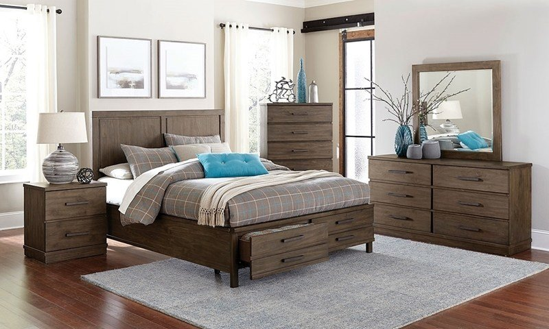 Best Beckham Contemporary Queen Storage Bedroom Set Haynes Furniture With Pictures