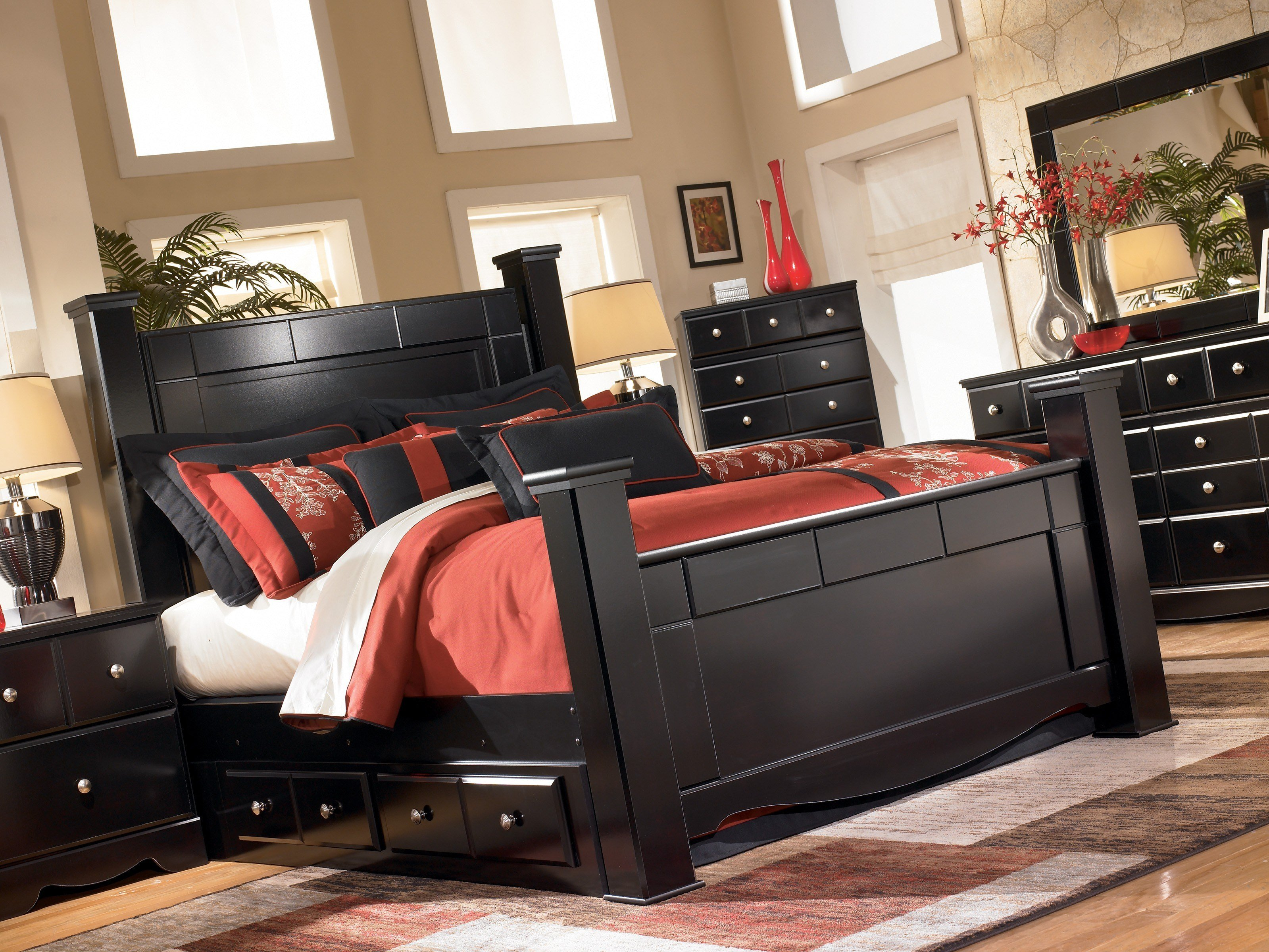 Best Shay Black B271 4 Pc King Poster Bedroom Set With Pictures