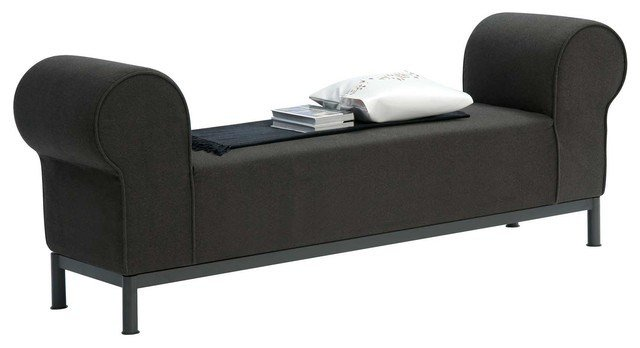 Best Regent Rolled Arm Fabric Bedroom Bench Contemporary Upholstered Bench With Arms Treenovation With Pictures
