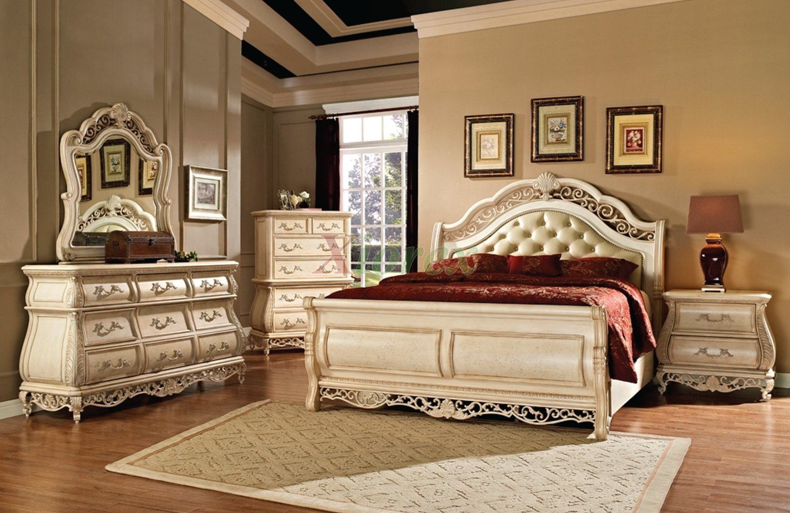 Best Sleigh Bedroom Furniture Set With Leather Headboard 142 With Pictures