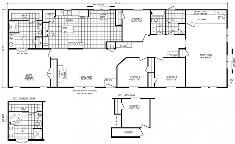 Best 4 Bedroom Double Wide Mobile Home Floor Plans New With Pictures