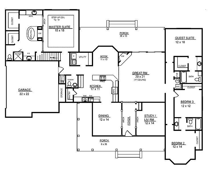 Best Awesome Four Bedroom One Story House Plans New Home With Pictures
