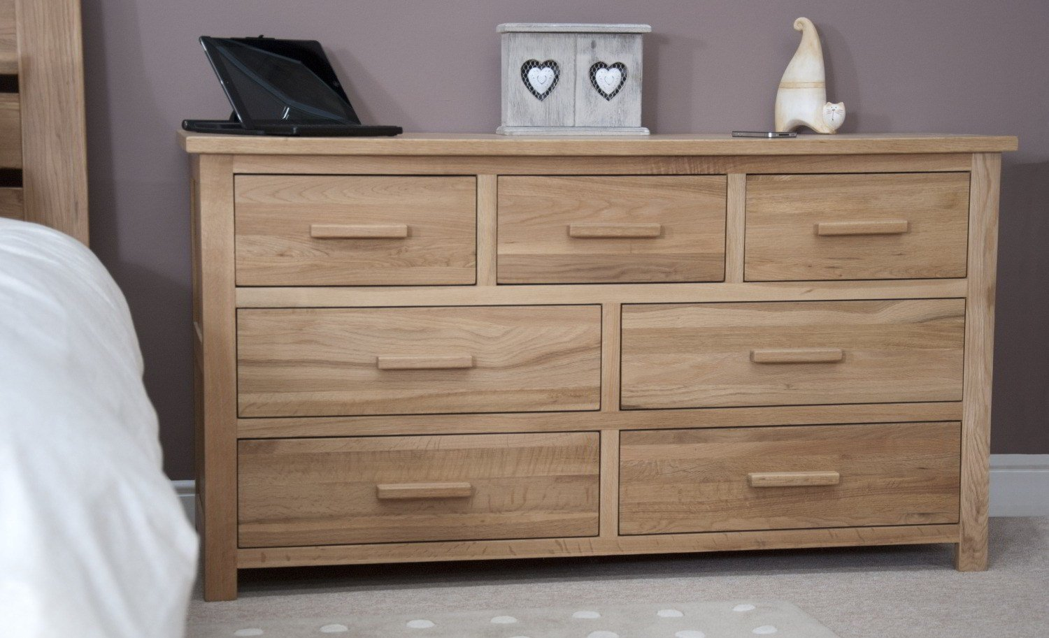 Best Eton Solid Modern Oak Furniture Large Bedroom Wide Chest With Pictures