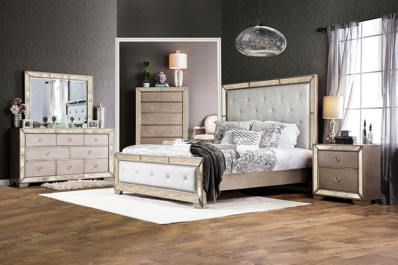 Best Loraine Antique Silver Mirrored 4 Piece Bedroom Set Usa With Pictures