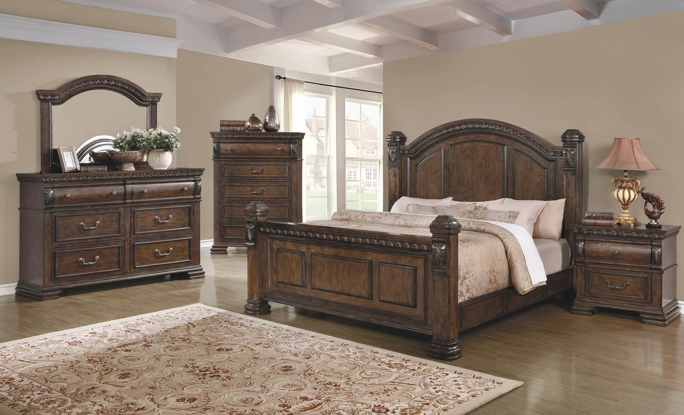 Best 4 Piece Satterfield Bedroom Set Warm Bourbon Finish Usa Warehouse Furniture With Pictures
