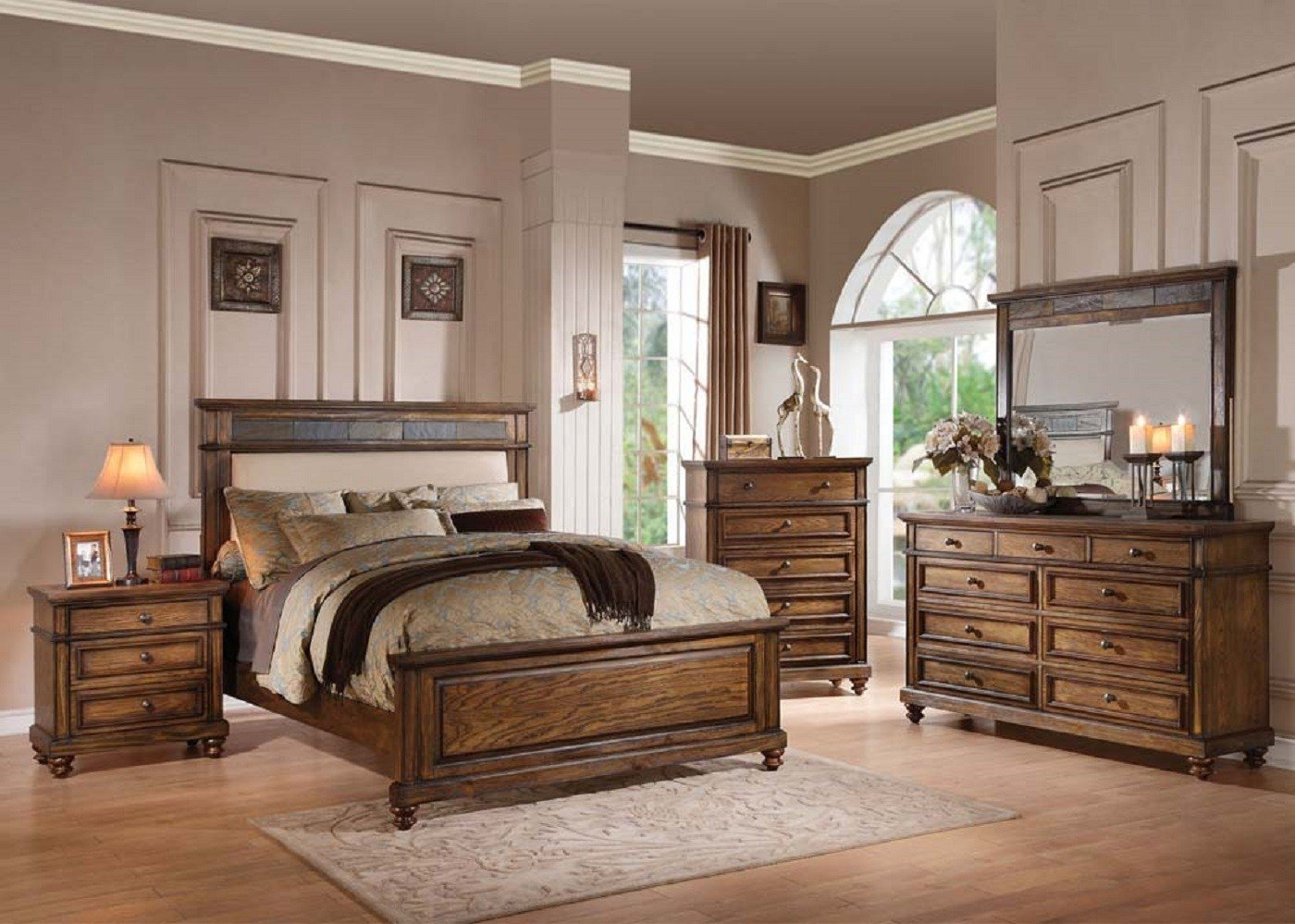 Best Acme 24440 Arielle Oak Finish 4 Pc Bedroom Set Usa With Pictures