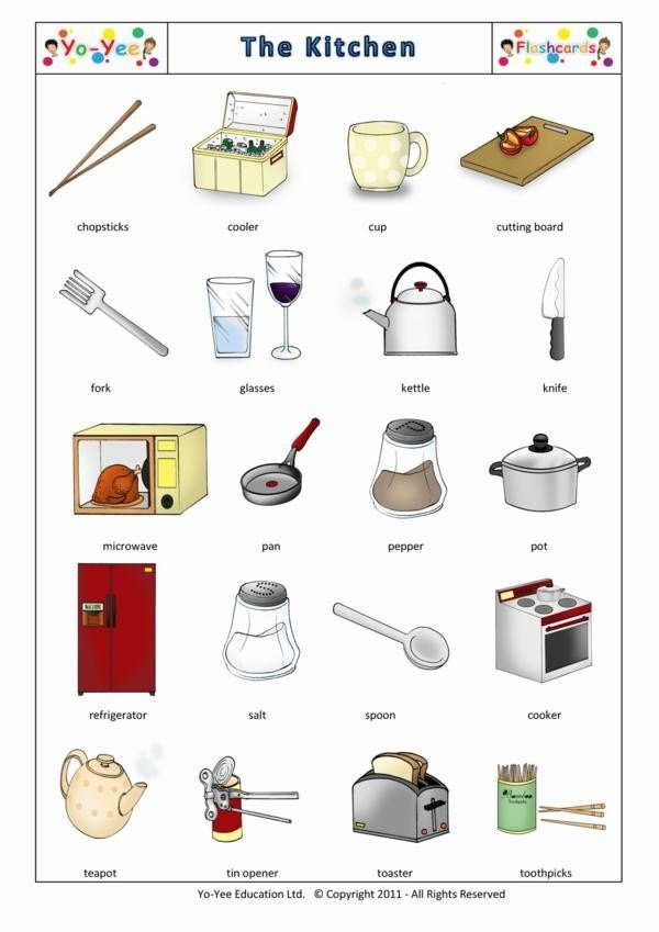 Best Kitchen Utensils Flashcards For Kids With Pictures