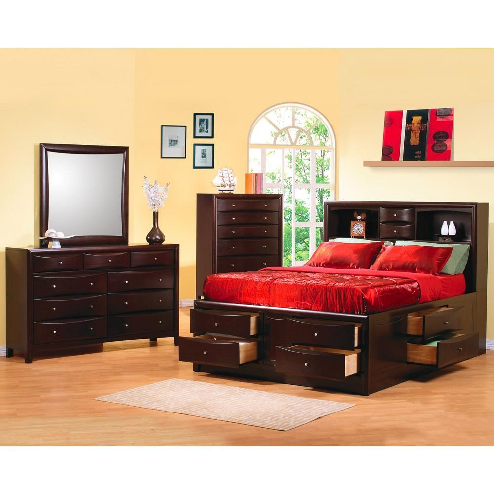 Best Contemporary King Bookcase Bed With Underbed Storage Drawers With Pictures