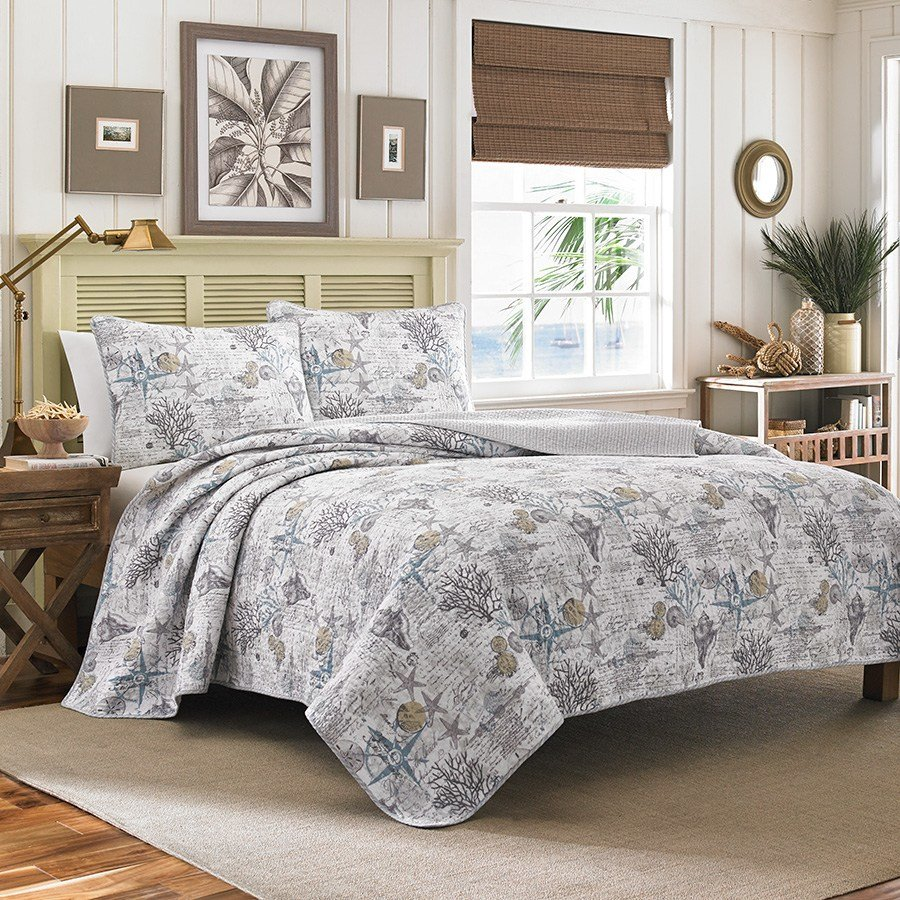 Best Tommy Bahama Beach Bliss Pelican Grey Quilt Set From With Pictures