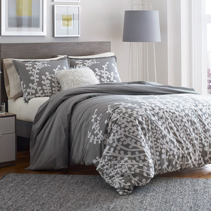 Best City Scene Branches Gray Comforter And Duvet Set From With Pictures