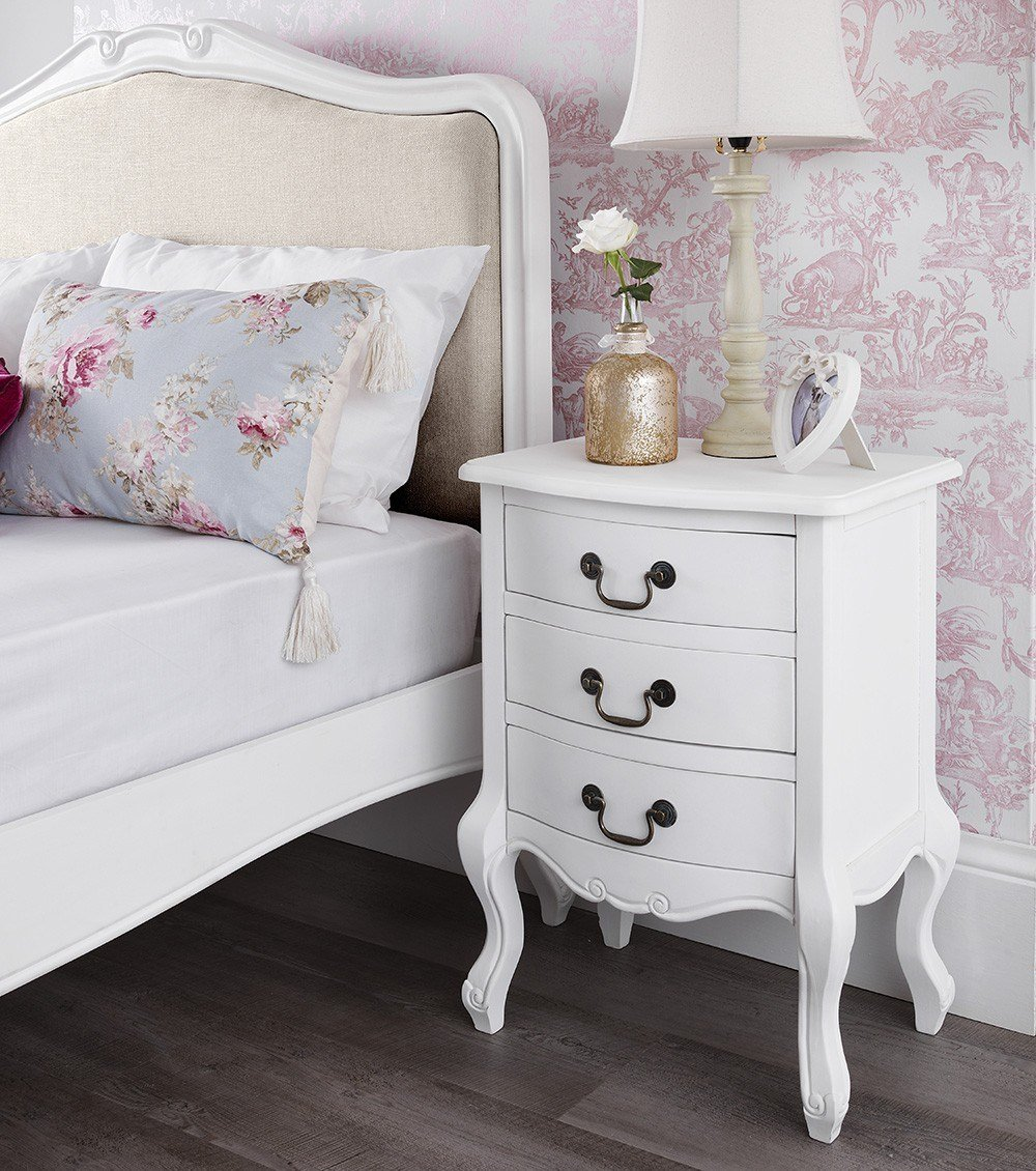 Best Shabby Chic White Upholstered Double Bed With Pictures