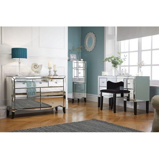 Best Gatsby Mirrored Rectangular Dressing Table With Stool 39280 With Pictures