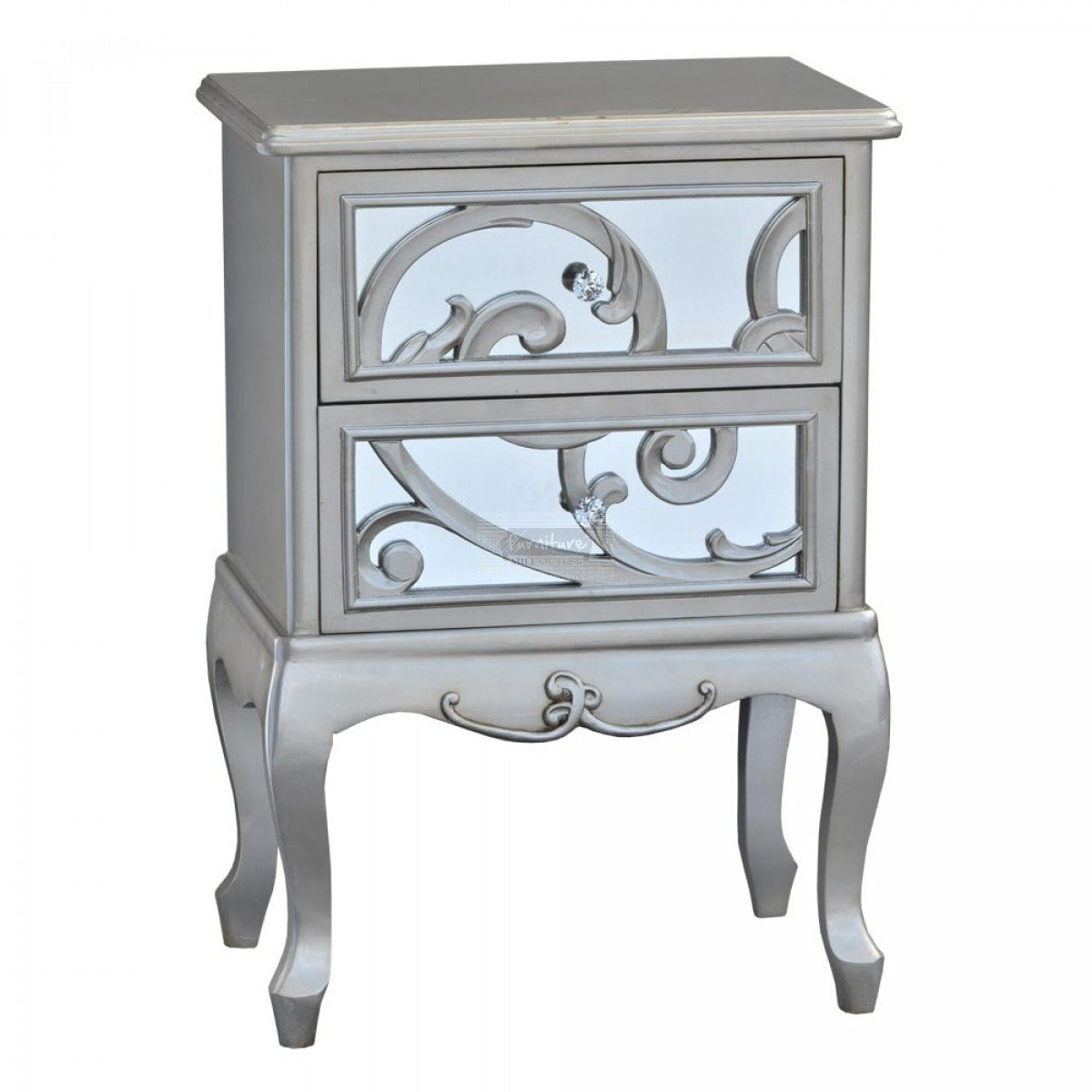 Best Silver Paisley Mirrored Bedroom Set 5 Piece Furniture With Pictures