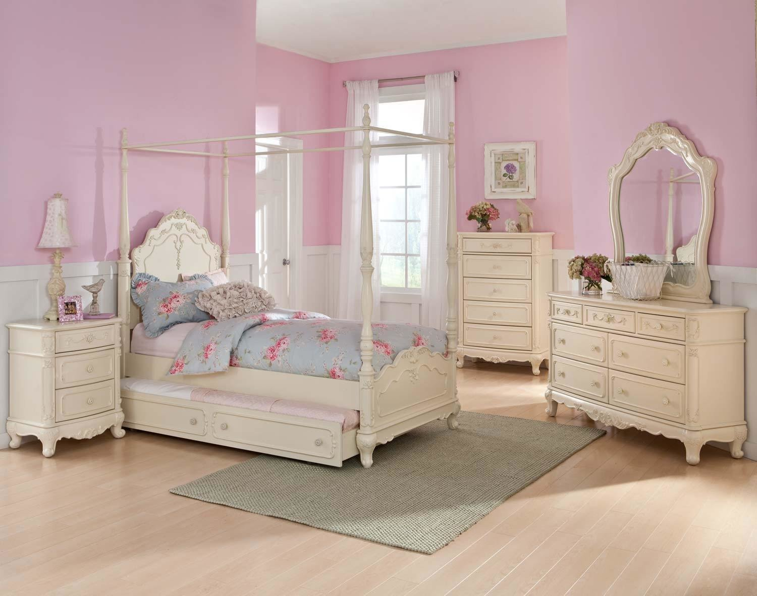 Best Homelegance Cinderella Full White 5Pc Canopy Bedroom Set Dallas Tx Kids Bedroom Group With Pictures