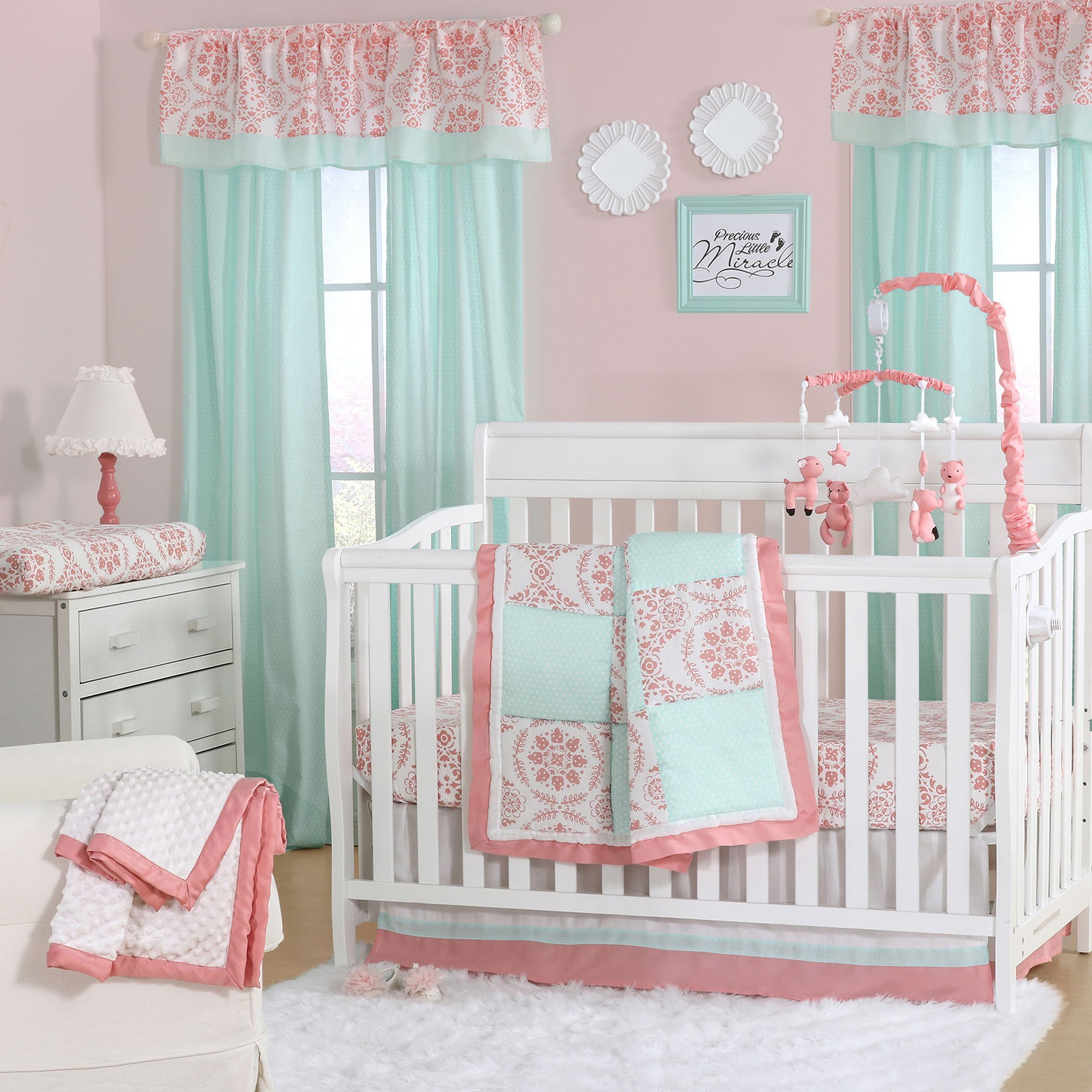 Best Mint Green And Coral Patchwork 3 Piece Baby Crib Bedding With Pictures