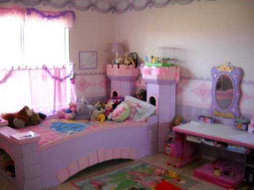 Best Princess Themed Bedroom With Pink Purple Castle Bed For With Pictures