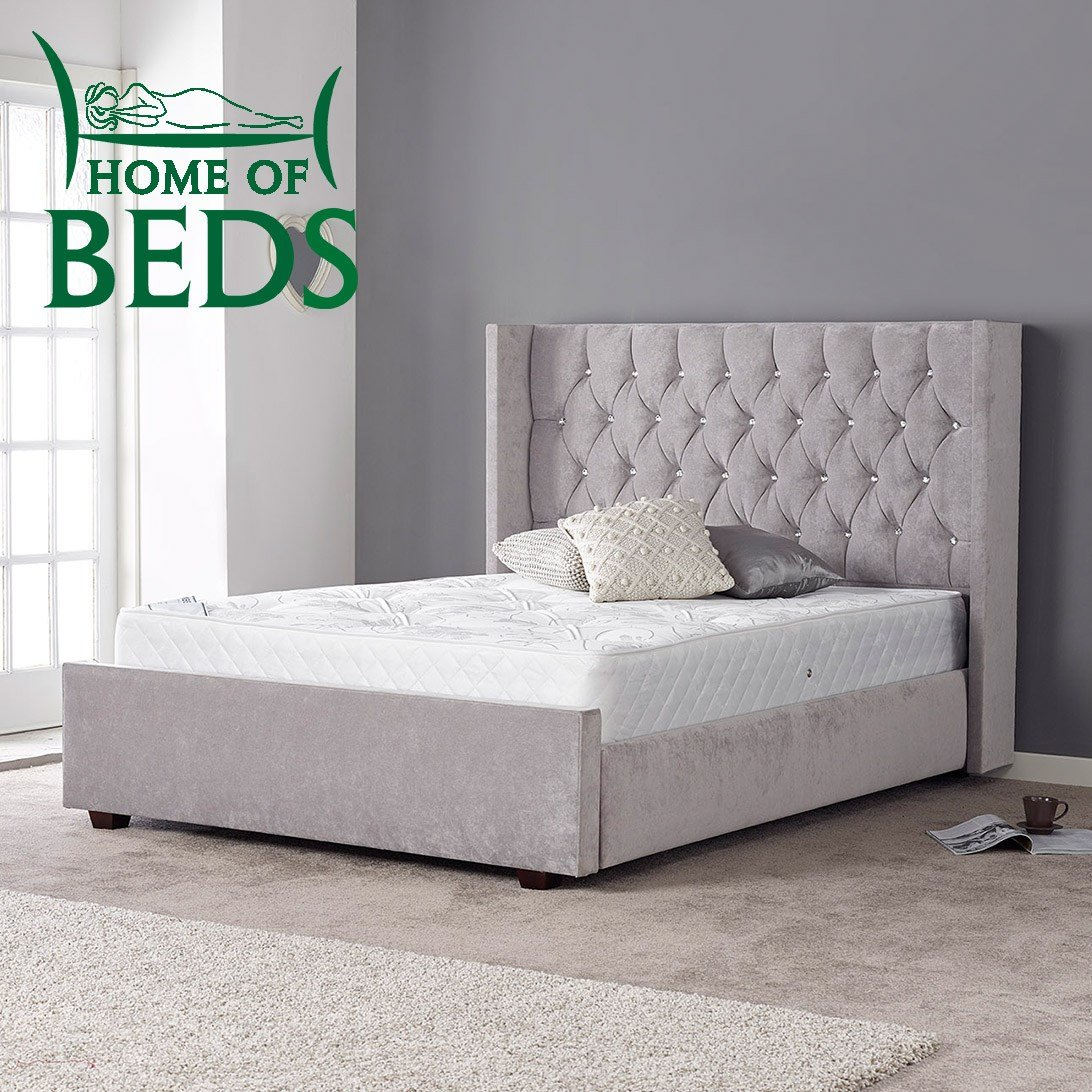 Best Gabriella Grey Fabric Designer Double Bed Frame Sweet With Pictures