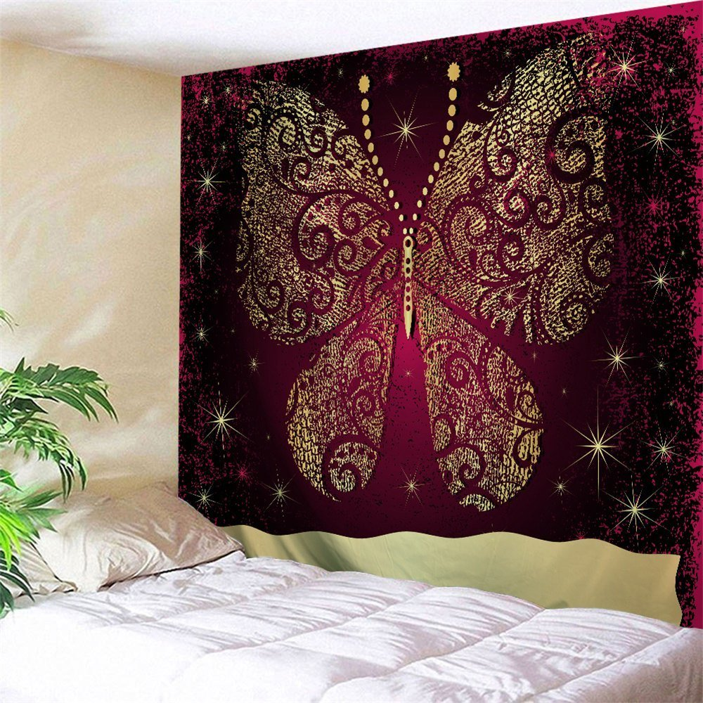 Best 2018 Wall Decor Butterfly Printed Bedroom Tapestry With Pictures