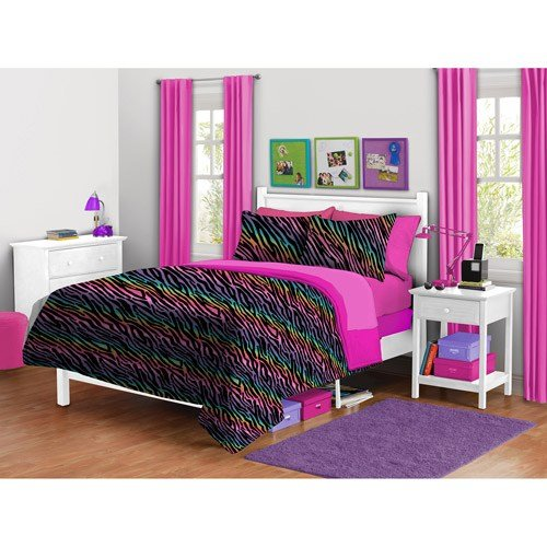 Best Your Zone Zebra Plush Reversible Comforter Set Walmart Com With Pictures