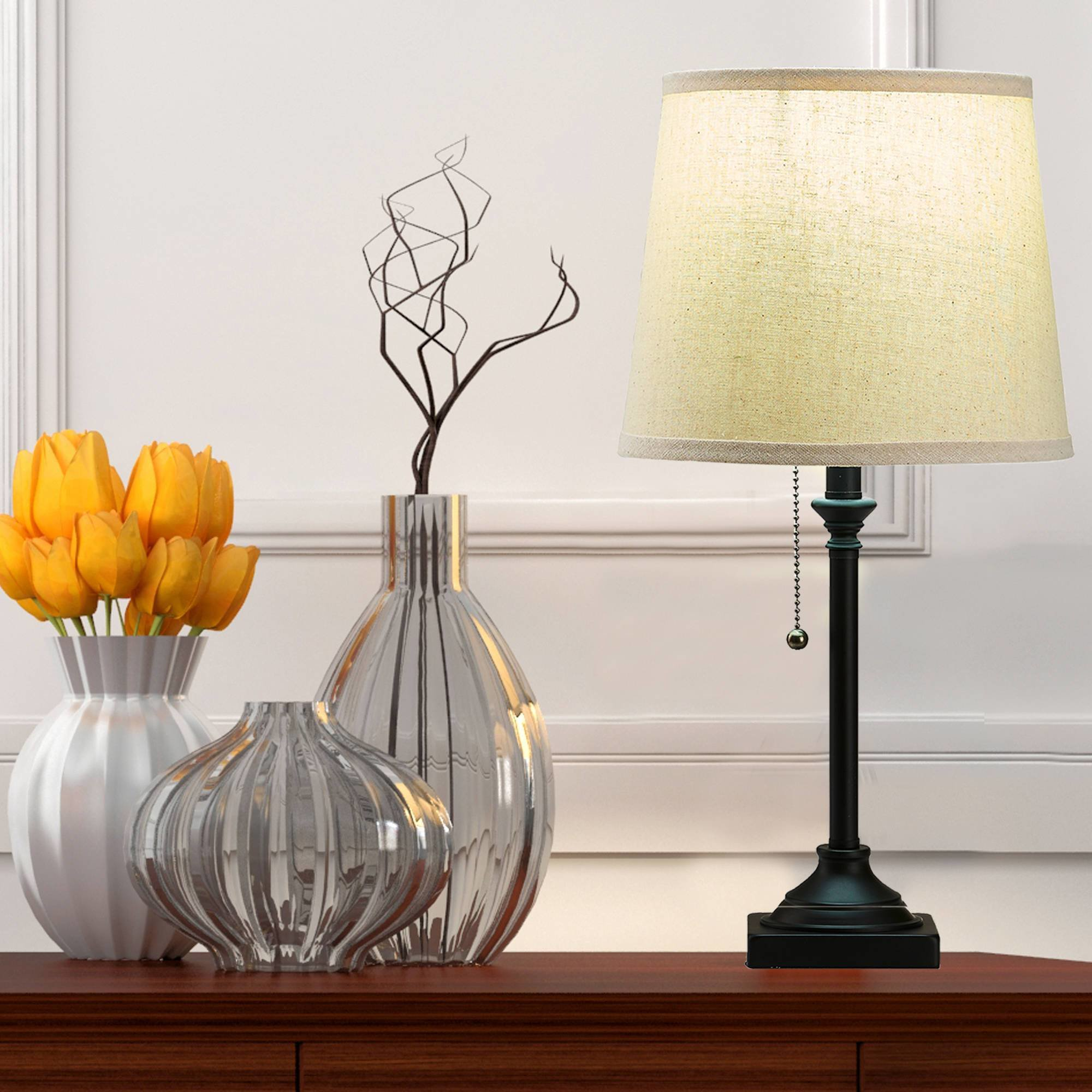 Best Bedroom Lamps For Nightstand Set Of 2 With Shade Pull Chain Switch Bronze Finish Ebay With Pictures