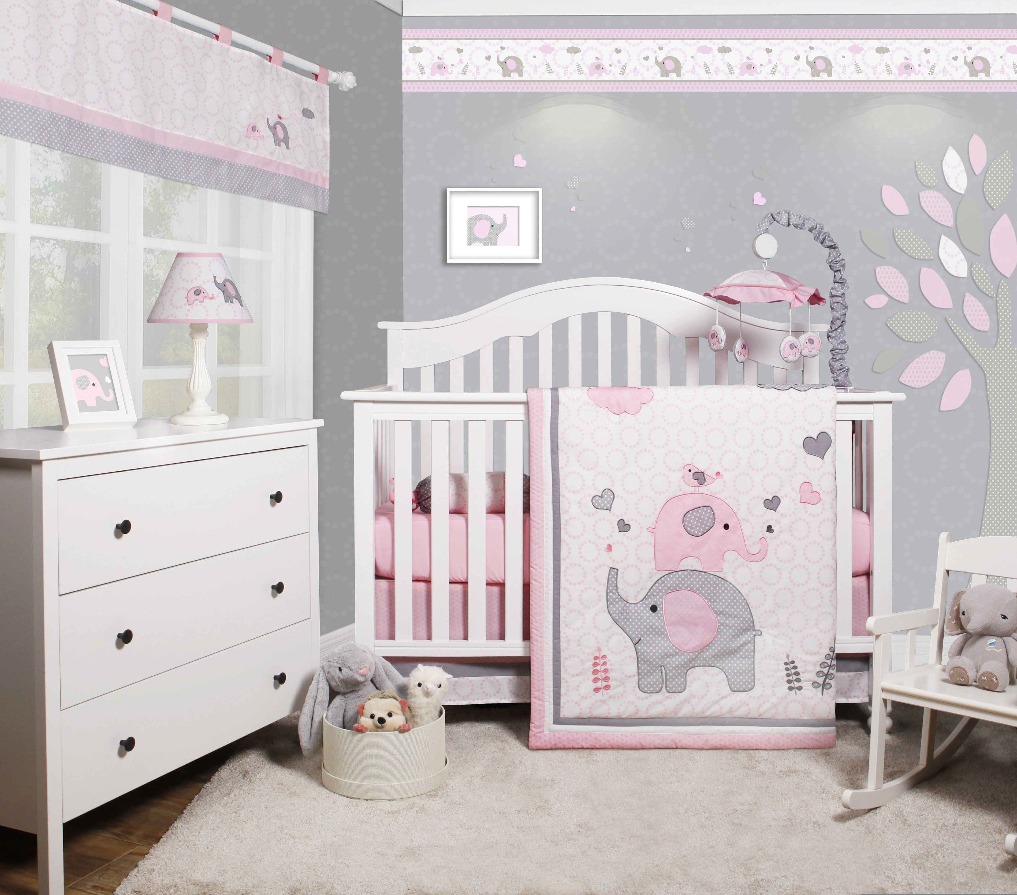 Best Optimababy Pink Grey Elephant 6 Piece Baby Girl Nursery With Pictures