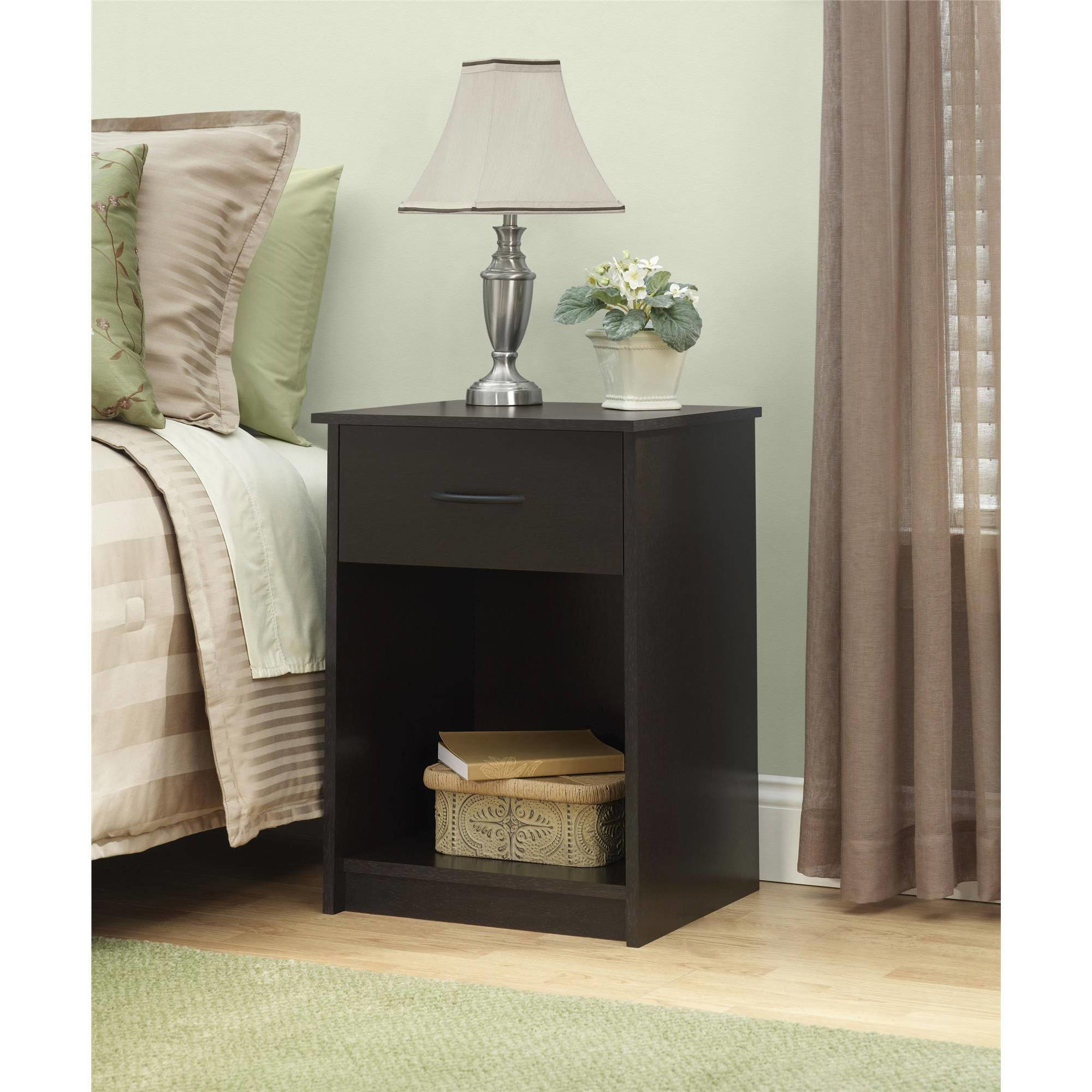 Best Nightstand Night Stand End Table 1 Drawer Furniture Bedroom Bedside Wood Brown Ebay With Pictures