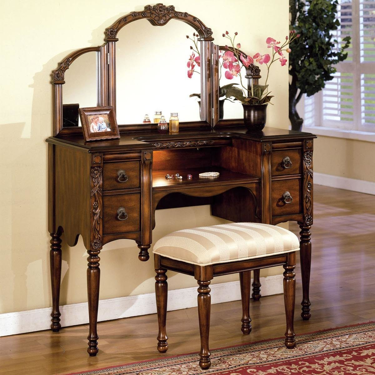 Best Acme Furniture Ashton Vanity Table Stool And Mirror Set Del Sol Furniture Vanity With Pictures
