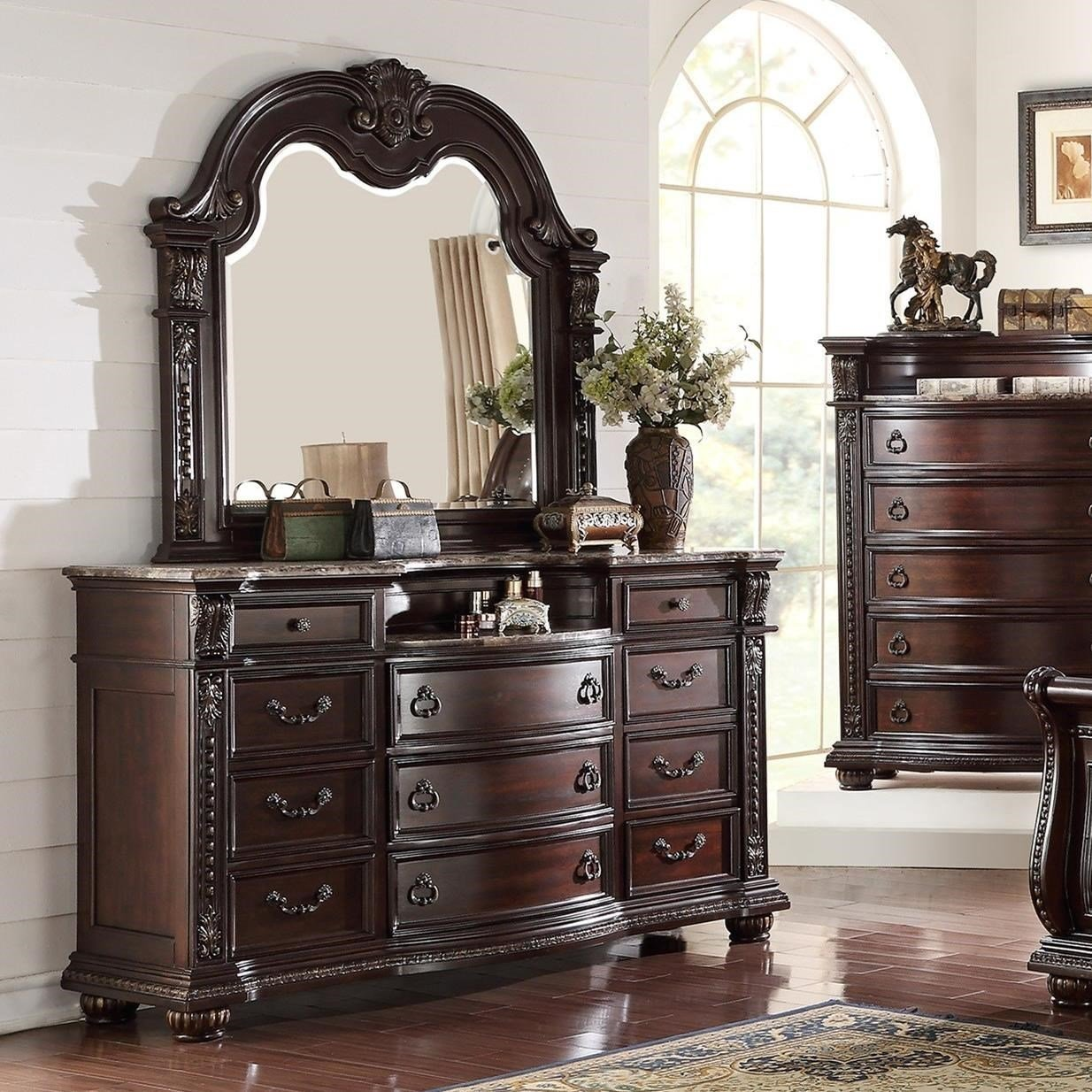 Best Crown Mark Stanley Bedroom Traditional Dresser And Mirror With Pictures