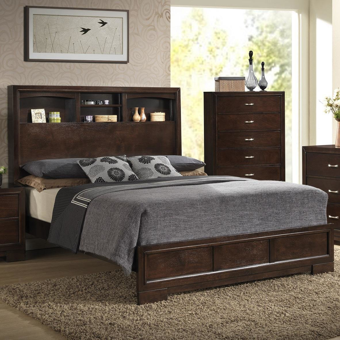 Best Lifestyle B**K** Contemporary Queen Bookcase Bed With 4 With Pictures